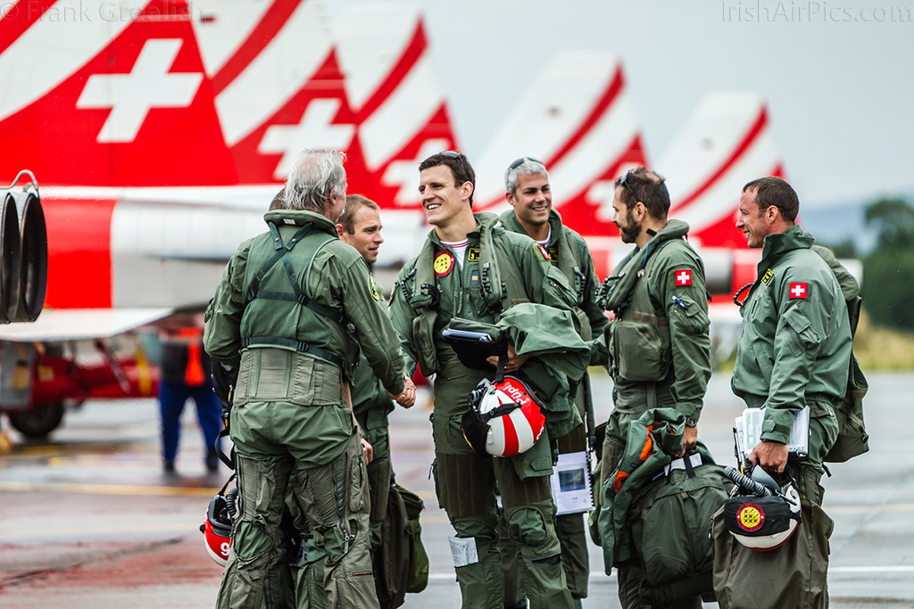 Patrouille Suisse crews chatting after landing at Baldonnel