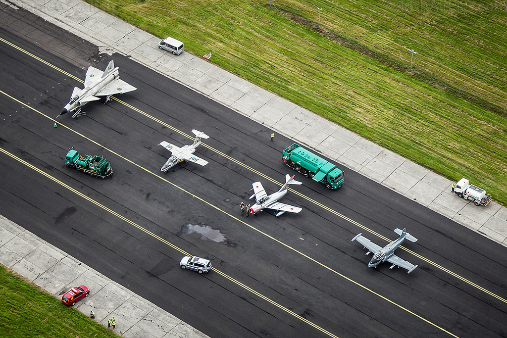 SwAFHF Viggen heads a lineup of classic fast jets at Shannon for the Air Display in July 2015