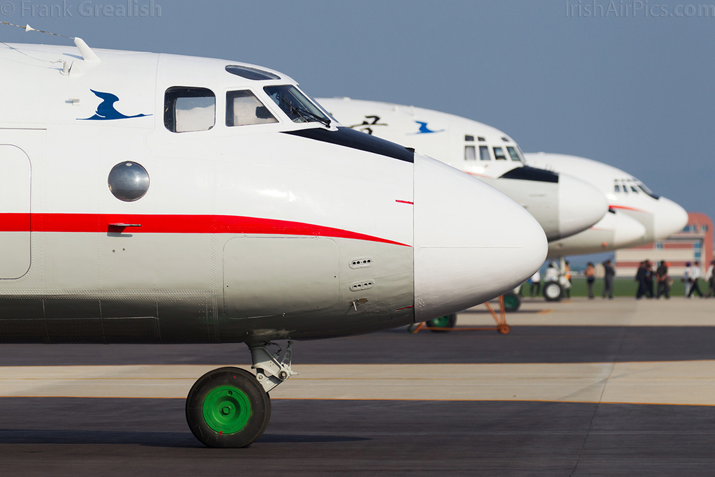 Air Koryo Antonov An-24 P-537 heads a line-up of classic types at Kalma - Il-18,  Tu-134,  and Il-62