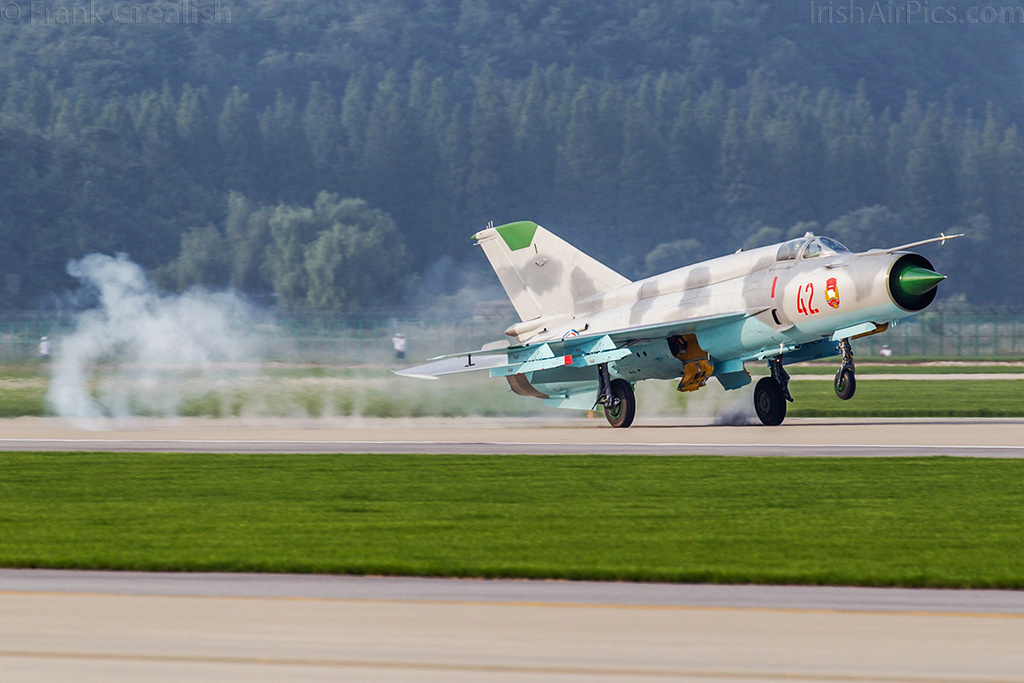 KPAAF Mikoyan-Gurevich MiG-21 lands after its display