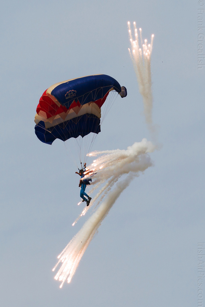 Parachutist with fireworks