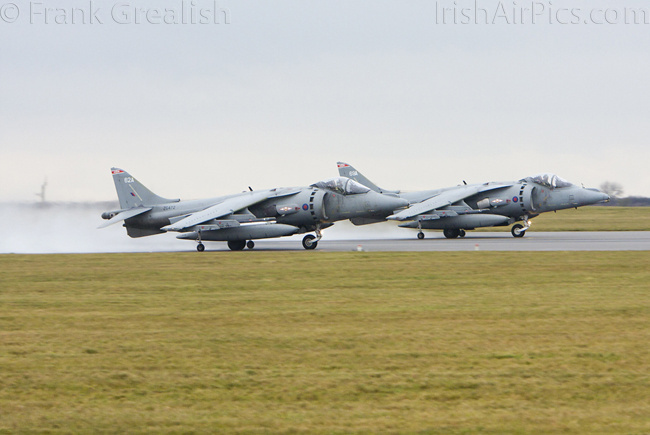 RAF Cottesmore - Harrier GR9s ZG472 and ZG479 take off for the last time