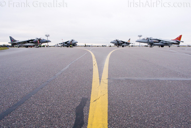 RAF Cottesmore - Harriers in a crescent formation on the ramp after being retired from RAF service