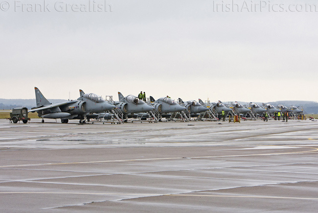 RAF Cottesmore - Harriers lined up on the ramp